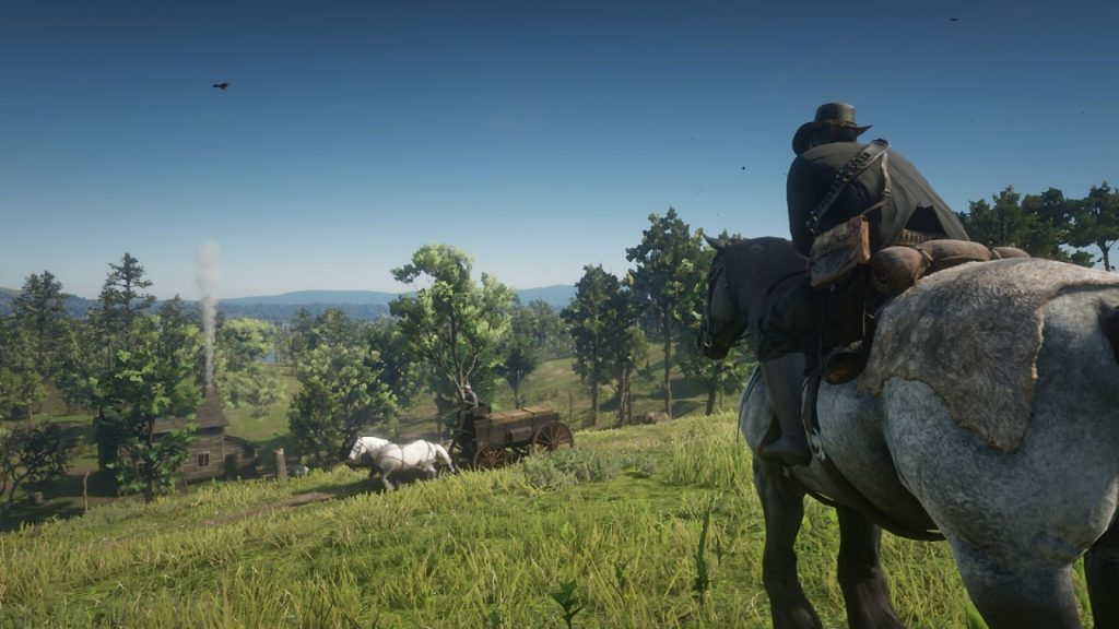 Red Dead Redemption II Arthur Overlooking Countryside on Horse